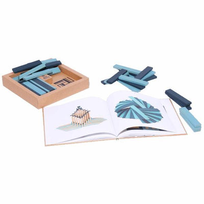 KAPLA | Wooden Building Planks | Art Book & 40 Blue Pieces