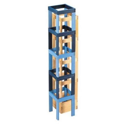 KAPLA Tower using Blue Dark Blue and Natural Building Planks