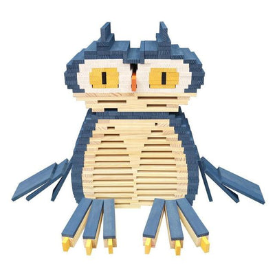Owl Sculpture using KAPLA Blue Planks and Natural Planks