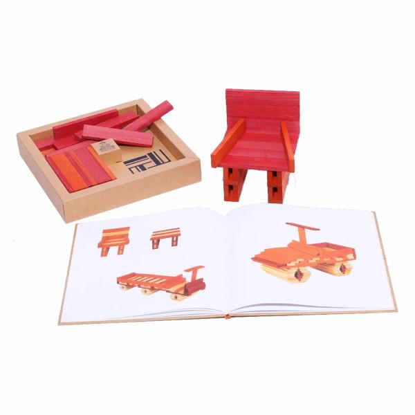 KAPLA | Wooden Building Planks | Art Book & 40 Orange Red Pieces