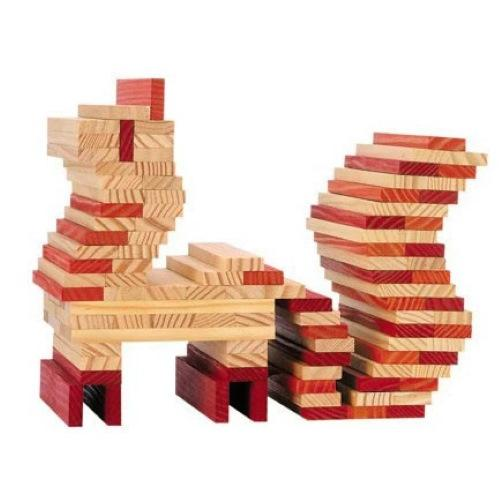 KAPLA | Wooden Building Planks | 40 Squares | Red