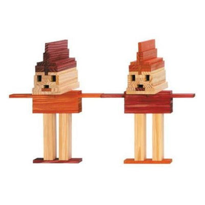 Two People Sculptures created using KAPLA red orange and natural wooden building planks