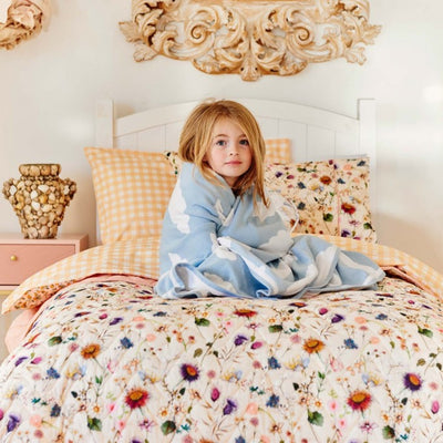 Kip and Co | Quilted Bedspread Comforter | Single | Bouquet Cream