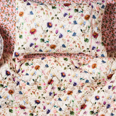 Kip and Co | Quilted Bedspread Comforter & Single Pillowcase | Bouquet Cream