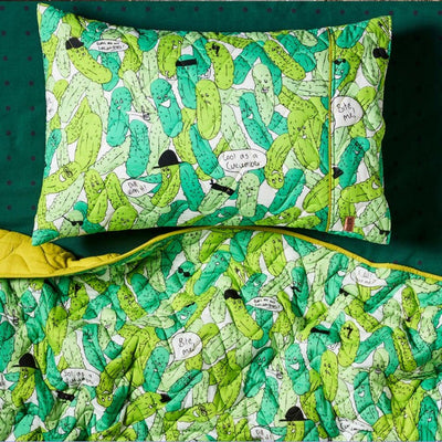 Kip and Co | Quilted Bedspread Comforter | Single Pillowcase | In A Pickle