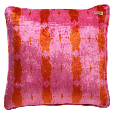 Kip and Co | Printed Velvet Cushion Cover | Flamingo