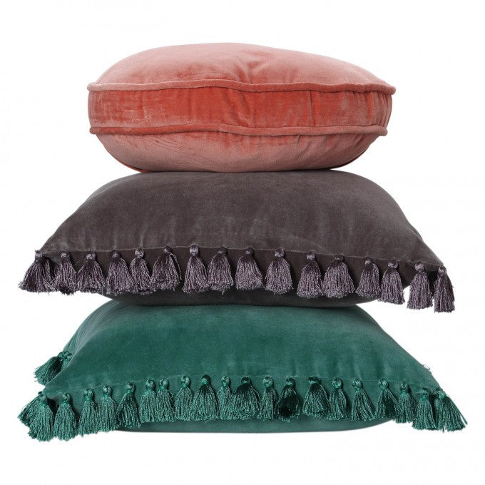 Kip and Co | Velvet Tassel Cushion Cover | Storm Front