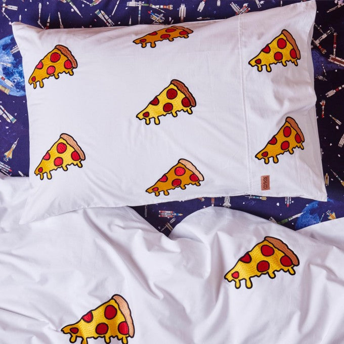 Kip and Co | Quilt Cover | Single | Margherita Pizza Embroidered