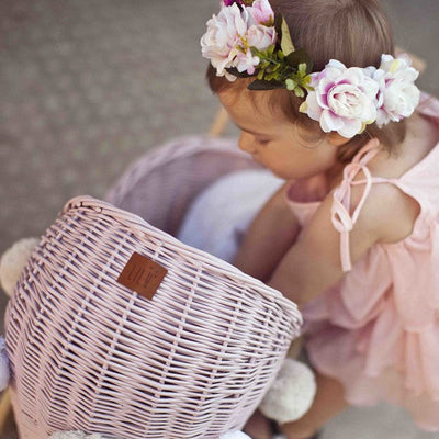Lilu | Wicker Doll's Stroller | Dusty Pink