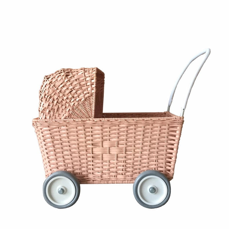 Olli Ella | Strolley | Rose Pink | Rattan Doll's Pram Toy