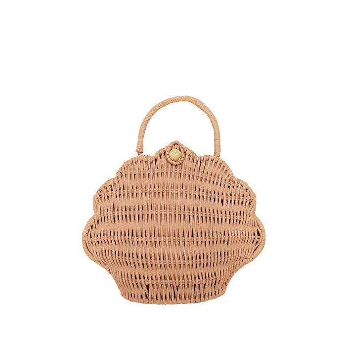 Olli Ella | Shell Bag | Rose Pink | Rattan Purse
