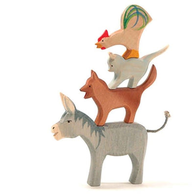 Ostheimer | Wooden Toy | Musicians of Bremen Cat Dog Donkey Rooster