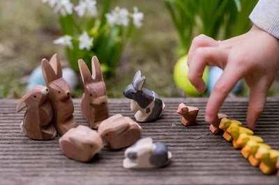 Collection of Ostheimer timber animals toys including Rabbits and Duckling