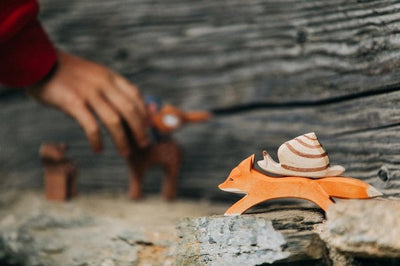 Ostheimer | Wooden Toy | Fox Small Running with snail on back