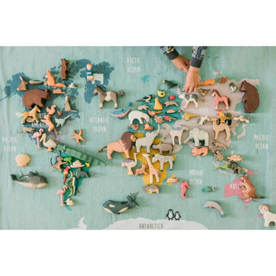 Ostheimer Wooden Toys Animals arranged on World Map | Lion Adult Male