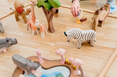 Ostheimer | Wooden Toy | Pond 2 Parts in an African savanna scene with Hippo and Zebra