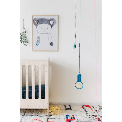 Pax and Hart Peaches Teddy Bear Art Print over Cot in Nursery