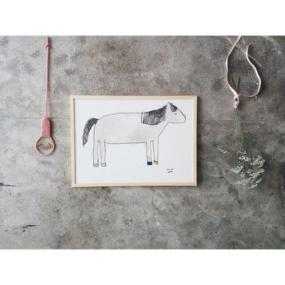Pax and Hart Wilde Horse Art Print Poster on Grey Wall