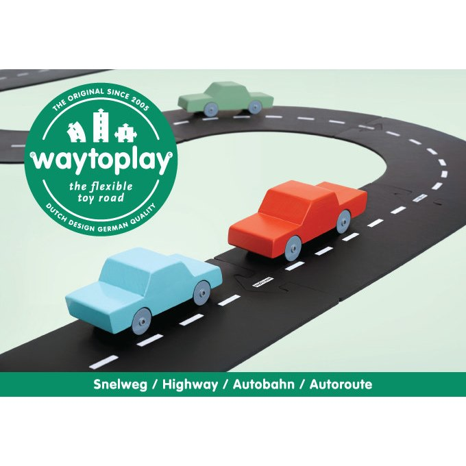 Waytoplay | Highway | 24 Pieces Rubber Road Set for Toy Cars