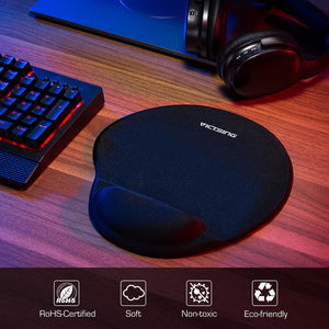 Black Mousepad With Silicone Wrist Support