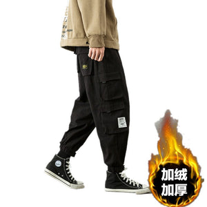 Mens Winter Pants Thick Warm Cargo Pants Casual Fleece Pockets Fur Trouser Fashion Loose Baggy Jogger Worker Male