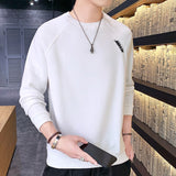 New Men Sweatshirt Casual Hip Hop Autumn Solid Hoodies Male Top Letter Print O-Neck Pullovers Sweatshirt Clothing