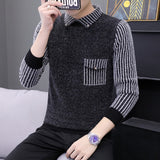 2020 Mens Knitted Sweater  Autumn Winter Casual Shirt collar stripes Pullover Vintage Black Slim Fit Sweaters Male