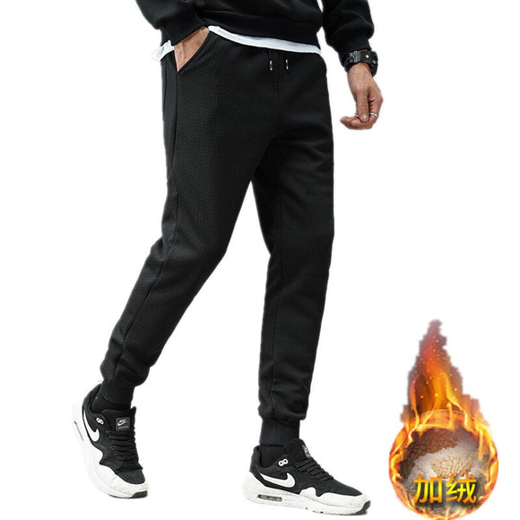 Plus Velvet Winter Men's Warm Fleece Sport Pant Thickening Thicken Long Pants Black Trousers