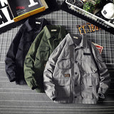 2019 Spring Autumn Jacket Men Loose Stand Mens Coats and Jackets Windbreaker Outwear Men Multi-pocket tooling Jacket 5XL