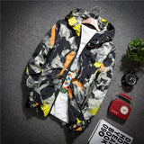 Spring Autumn Bomber Jacket Men Camouflage Print Hooded Thin Jackets Men Wind Breaker Jacket Youth fashion Windproof Coat M-5XL