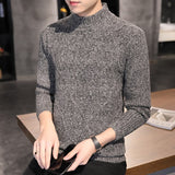 Autumn winter Men's Knitted Sweaters Solid Color Half high collar Slim Fit Long Sleeve Pullovers Winter Casual Slim Fit Sweater