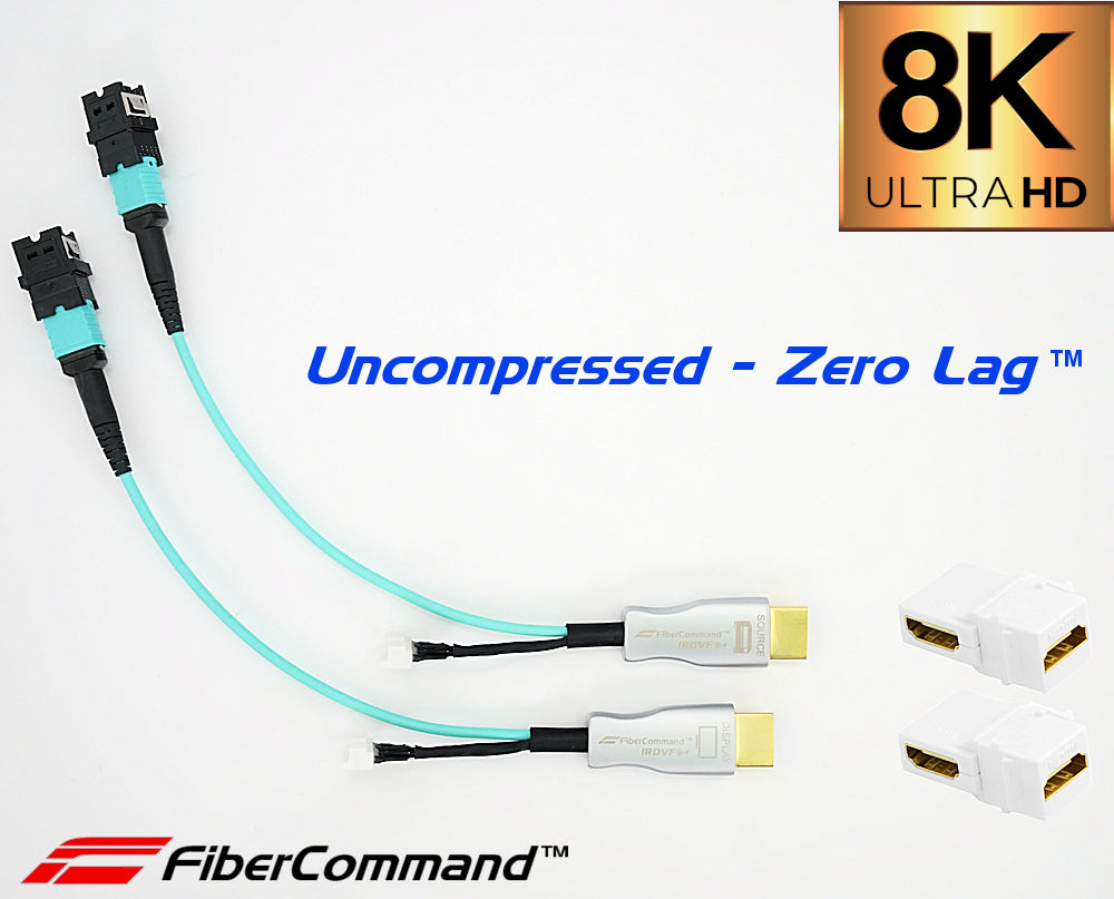 8k hdmi extender kit 48 gbps earc cec uncompressed by irovf fibercommand