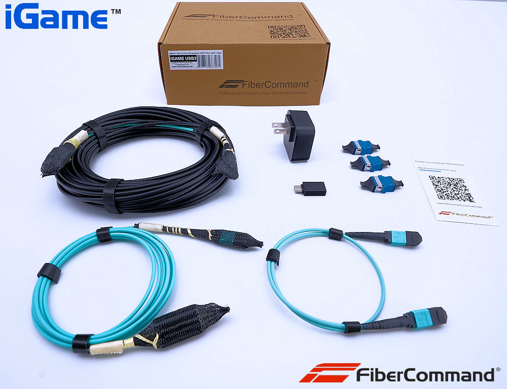 Long oculus link cable fiber optic compatible to any USB-C VR Virtual Reality Headset 55 feet 15 meters Long complete kit