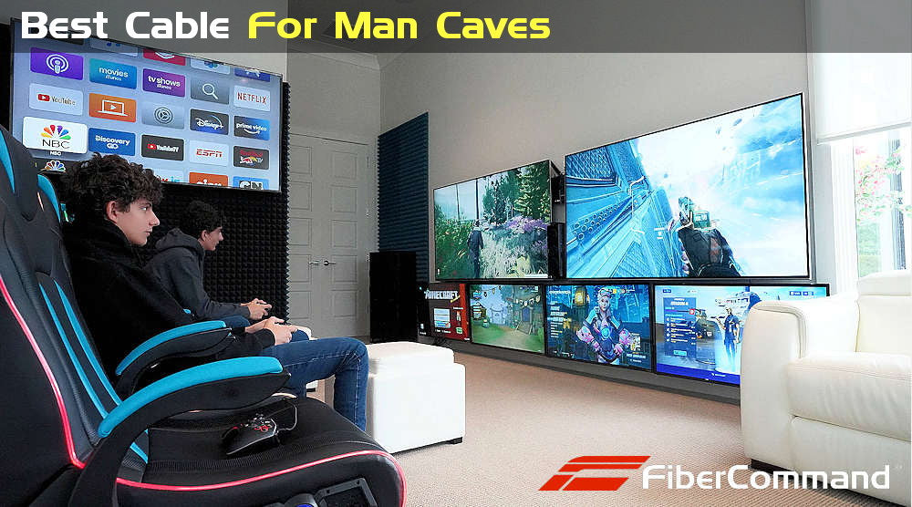 crestron-nvx-8k-hdmi-av-over-ip fiber optic hdmi cable for video wall man cave multi tv installation sports bars style