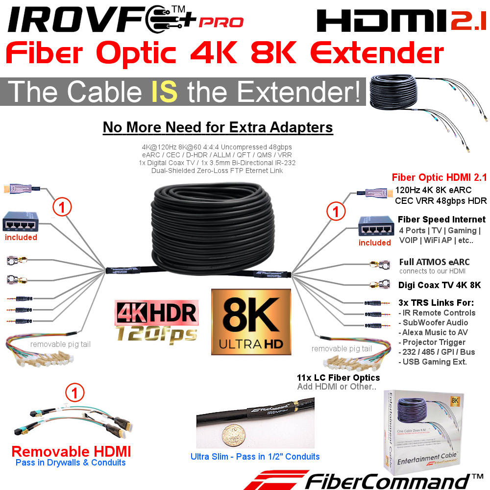 just-add-power-extenders professional fiber optic hdmi cable for 4k 8k 120hz hdr earc cec with fiber ethernet ultra high speed plenum