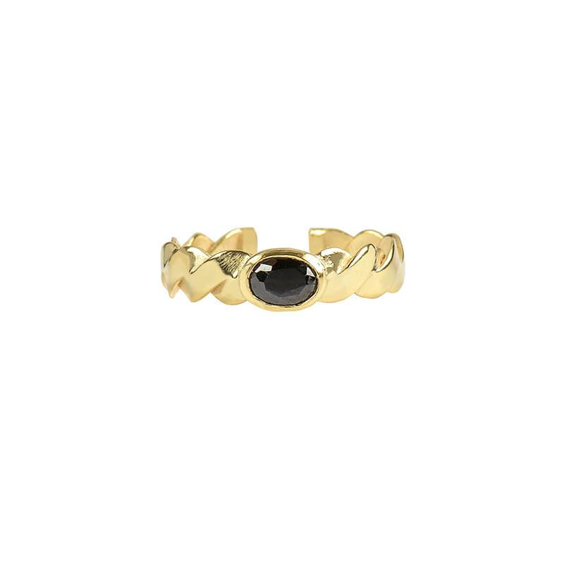 Anillo Braid Stone Black - Oui Petit