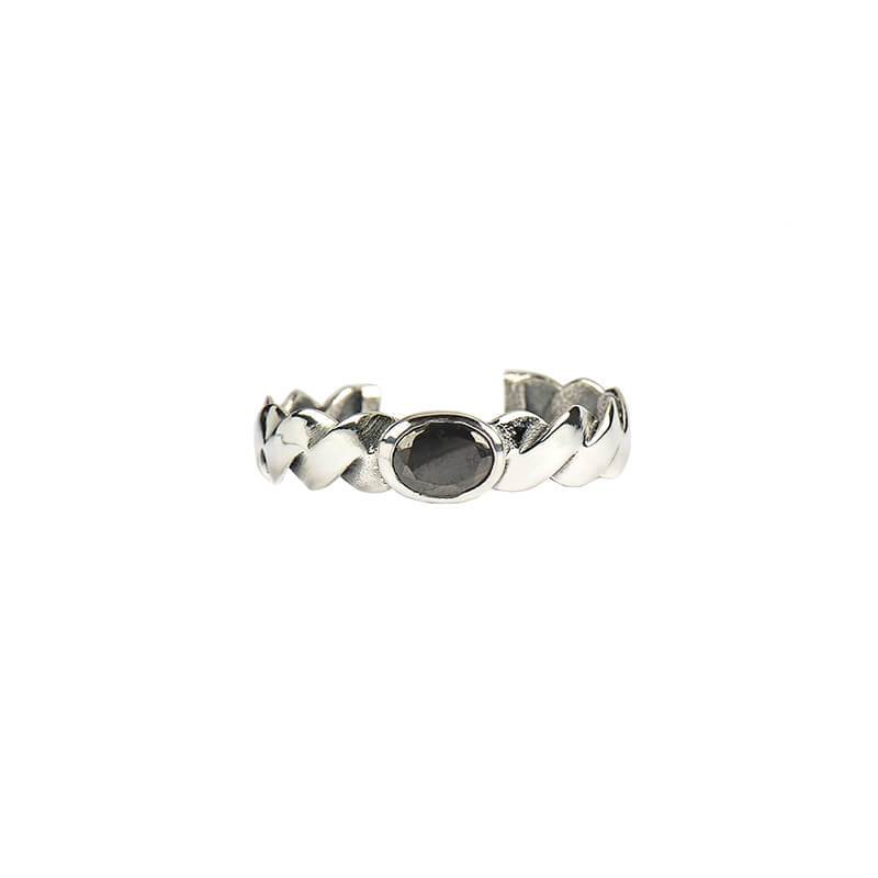 Anillo Braid Stone Silver Black - Oui Petit