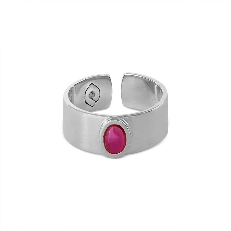 Anillo Flat Oval Plata Strawberry - Oui Petit