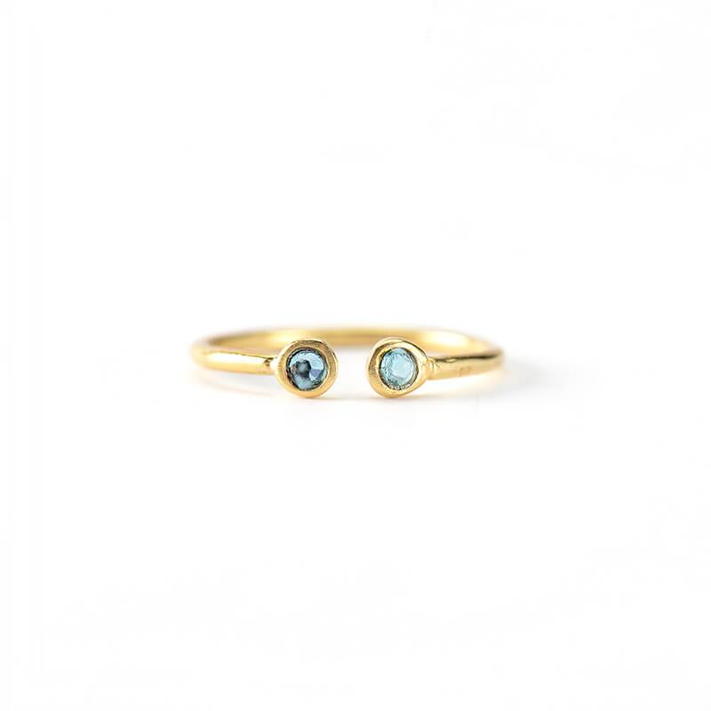 Anillo Maxi Twin Swarovski Light Blue - Oui Petit