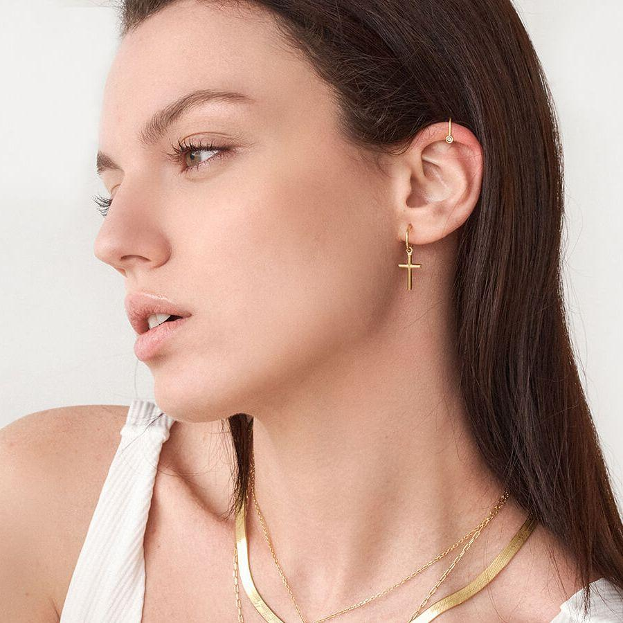 Pendientes Basic Cross Oro - Oui Petit