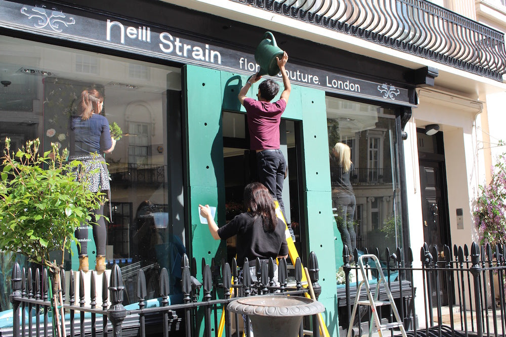 Preparations for the Neill Strain Floral Couture installation for A Celebration of the Rose May 2015