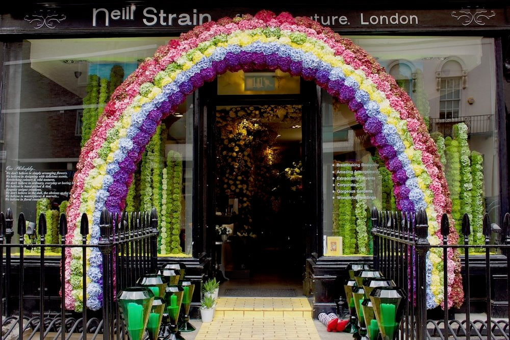 """Award-winning Belgravia in Bloom design for """"Hello Hydrangea!"""" during the RHS Chelsea Flower Show at Neill Strain Floral Couture"""
