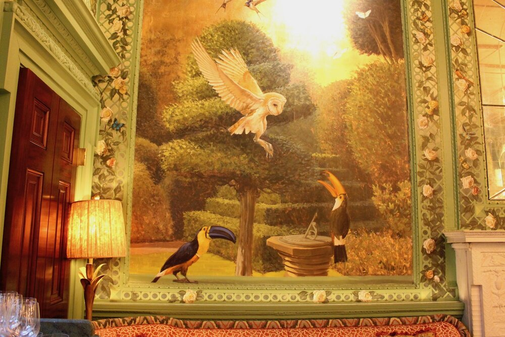 Inspirations for the peacock theme came from the many birds adorning the walls of the Rose Room