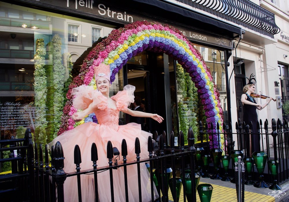 """Neill Strain Floral Couture launch party for """"Belgravia in Bloom"""" with a Wizard of Oz theme"""