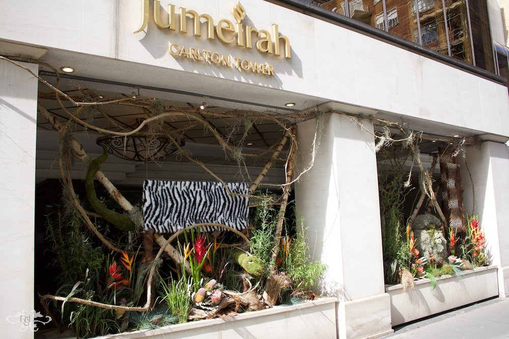 """Jungle themed display for the Jumeirah Carlton Hotel won a Gold award in """"Chelsea in Bloom"""""""