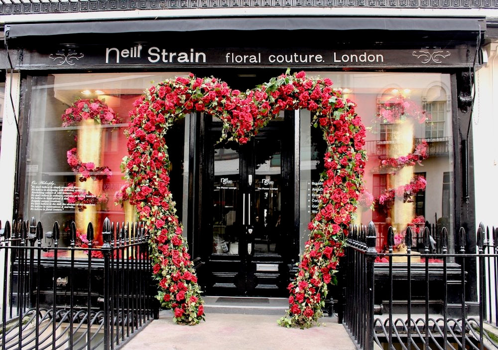 The floral heart installation at Neill Strain Floral Couture is one of London's most photographed venues for Valentine's Day.
