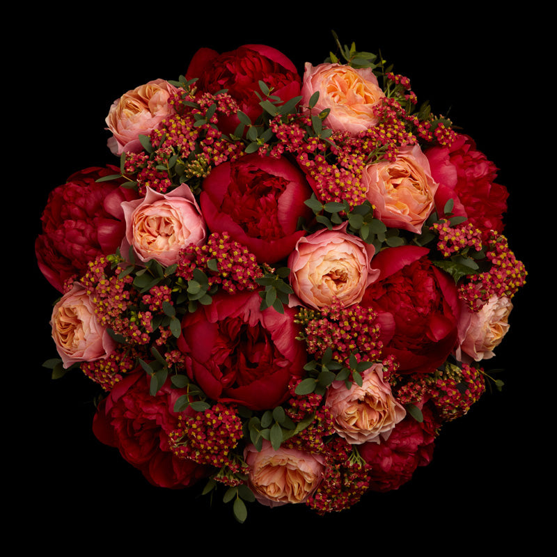 Red Peony bouquet by Neill Strain Floral Couture