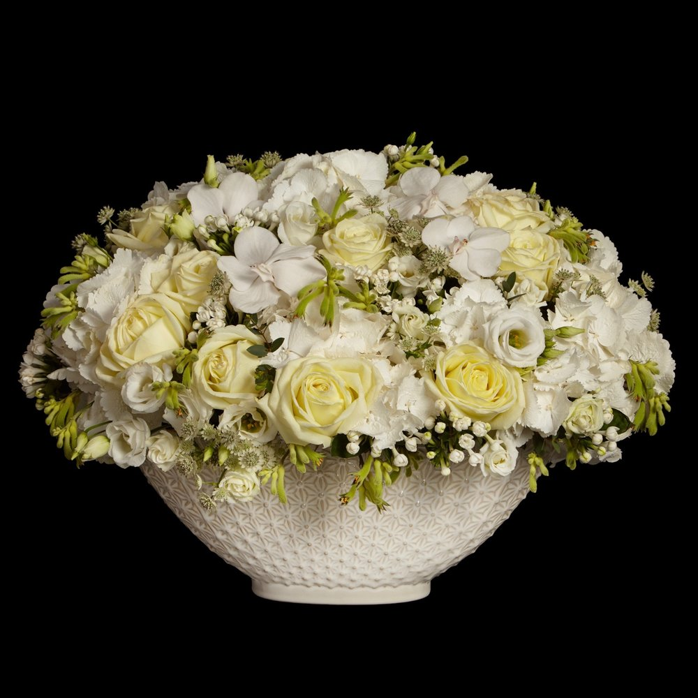 Ebury low table arrangement in white by Neill Strain Floral Couture