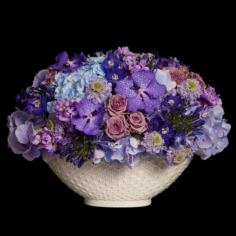 Cadogan low table arrangement in blue by Neill Strain Floral Couture