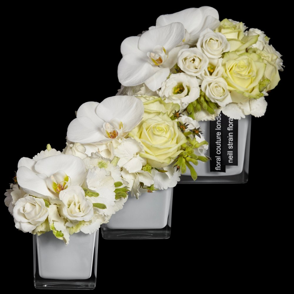 Ebury Petite Couture arrangement in white by Neill Strain Floral Couture